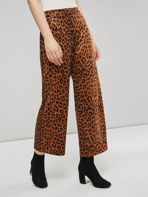 Leopard High Waist Loose Women's Casual Pants