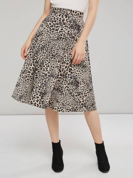 Print A Line Mid Calf Women's Skirt