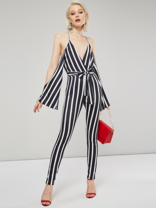 Stripe V Neck Shoulder Hollow Women's Jumpsuit