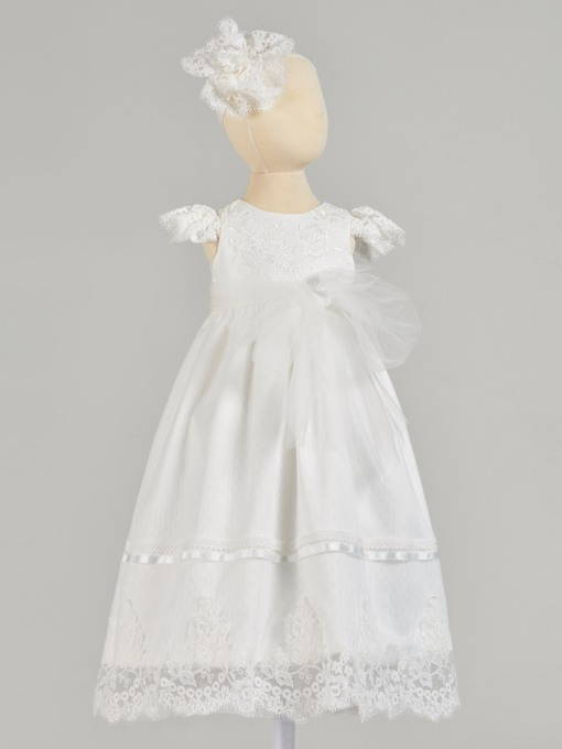Cap Sleeve Round Neck Lace Baby Girl's Christening Gown
