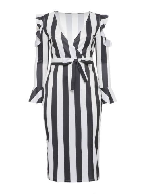 Falbala Stripe V-Neck Women's Long Sleeve Dress