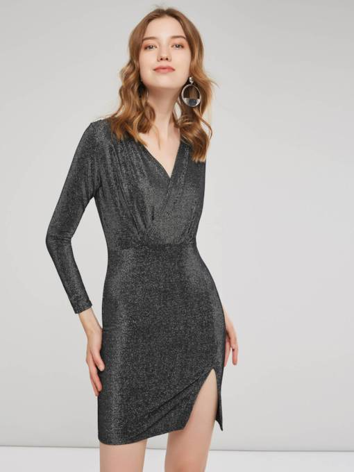 Long Sleeves V-Neck Women's Party Dress
