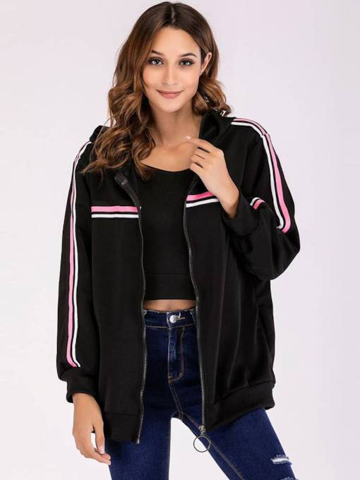Stripe Hooded Zipper Up Pocket Women's Jacket
