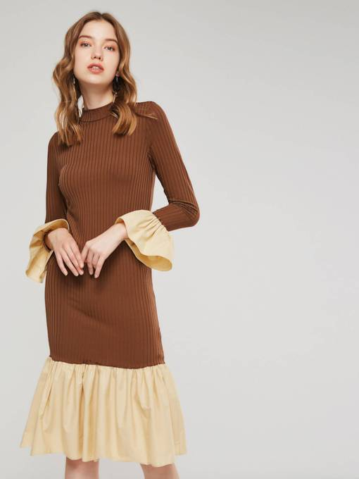 Patchwork Bell Sleeve Women's Sweater Dress
