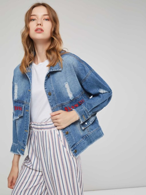Letter Embroidery Single-Breasted Women's Denim Jacket