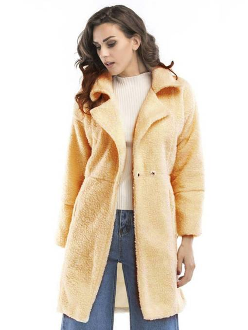 Faux Fur Mid Length Lapel Women's Teddy Coat