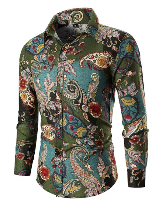 Casual Slim Lapel Geometric Plant Print Men's Shirt