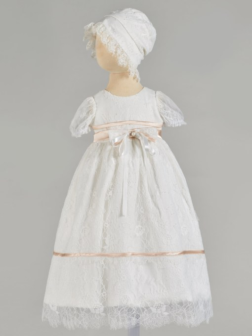 Round Neck Short Sleeve Lace Baby Girl's Christening Gown