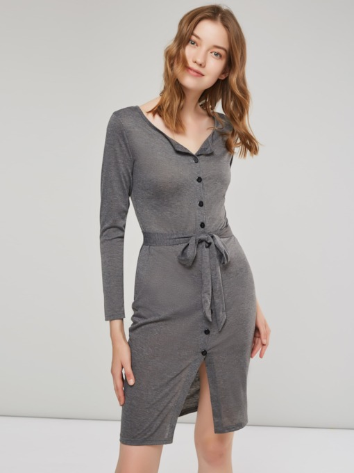 Button Belt Fall Plain Women's Long Sleeve Dress