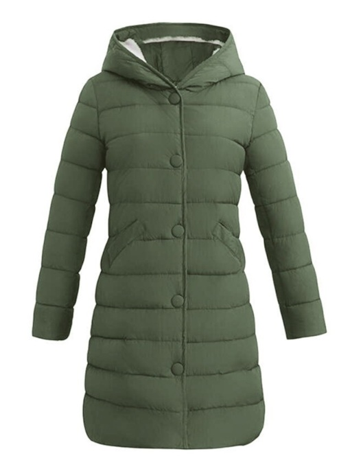 Single-Breasted Hooded Mid-Length Women's Cotton Padded Jacket