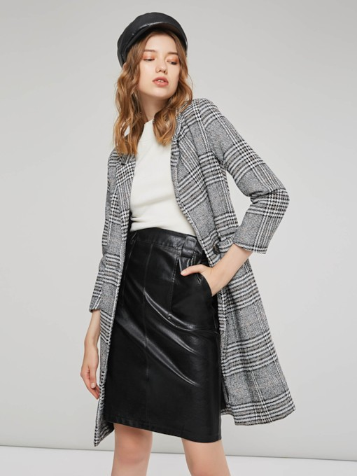 Plaid Mid Length One Button Classic Women's Overcoat