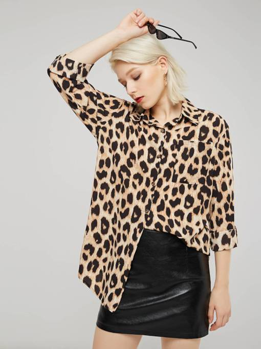 Single-Breasted Leopard Print Flare Sleeve Women's Shirt