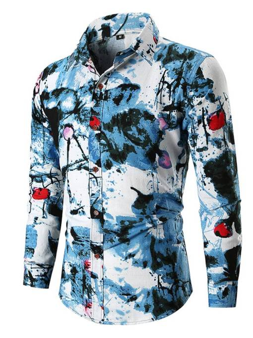 Casual Slim Lapel Plant Print Men's Shirt