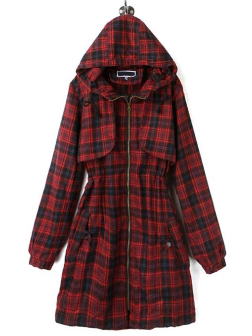 Tight Waist Plaid Hooded Zipper Up Women's Trench Coat
