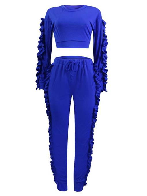 Patchwork Long Sleeve Fold T-Shirt and Pants Women's Two Piece Set