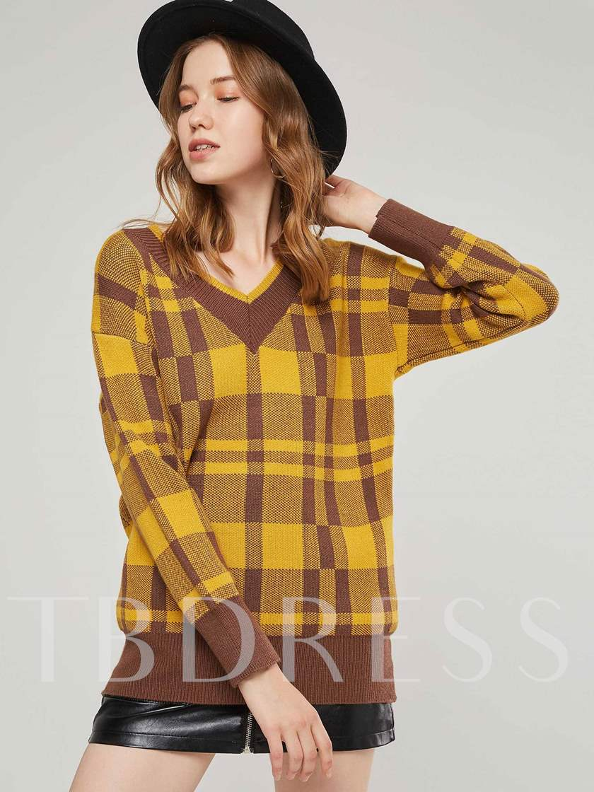 Plaid Print V-Neck Color Block Women's Sweater