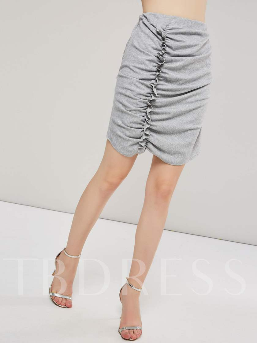 Plain Fold Bodycon Women's Mini Skirt