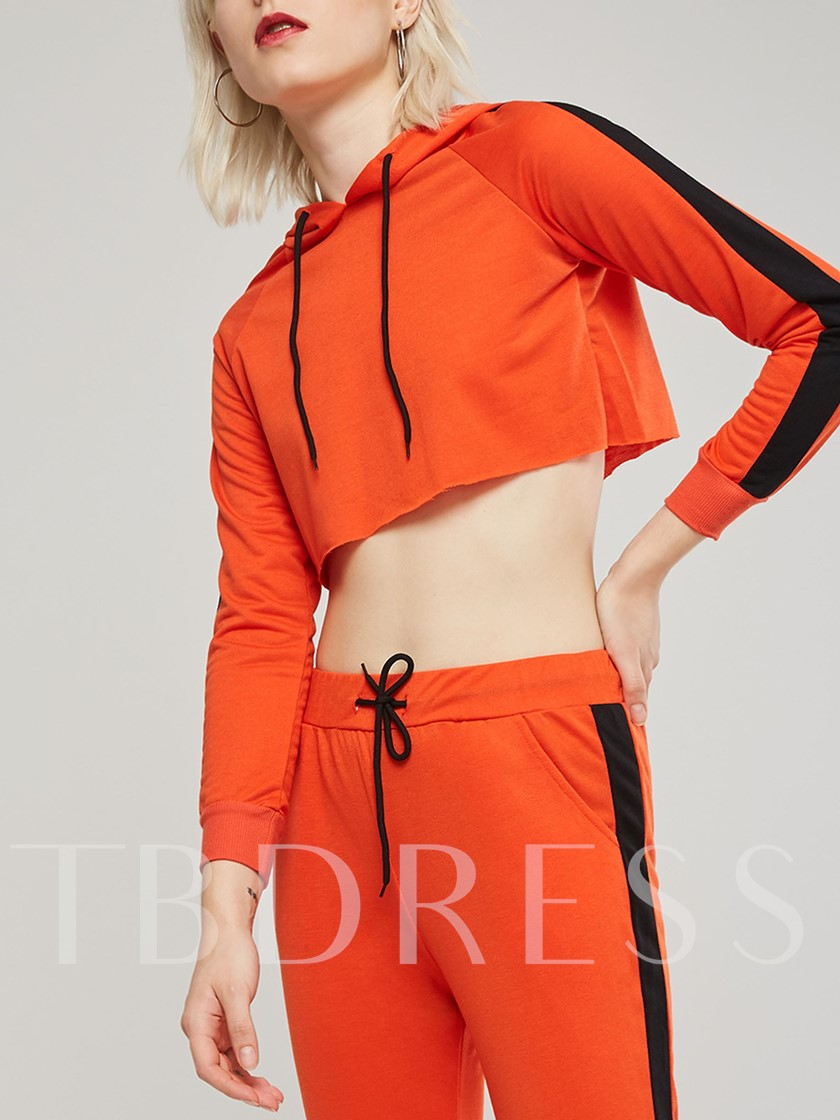 Sporty Stripe Hoodie and Pants Women's Two Piece Set