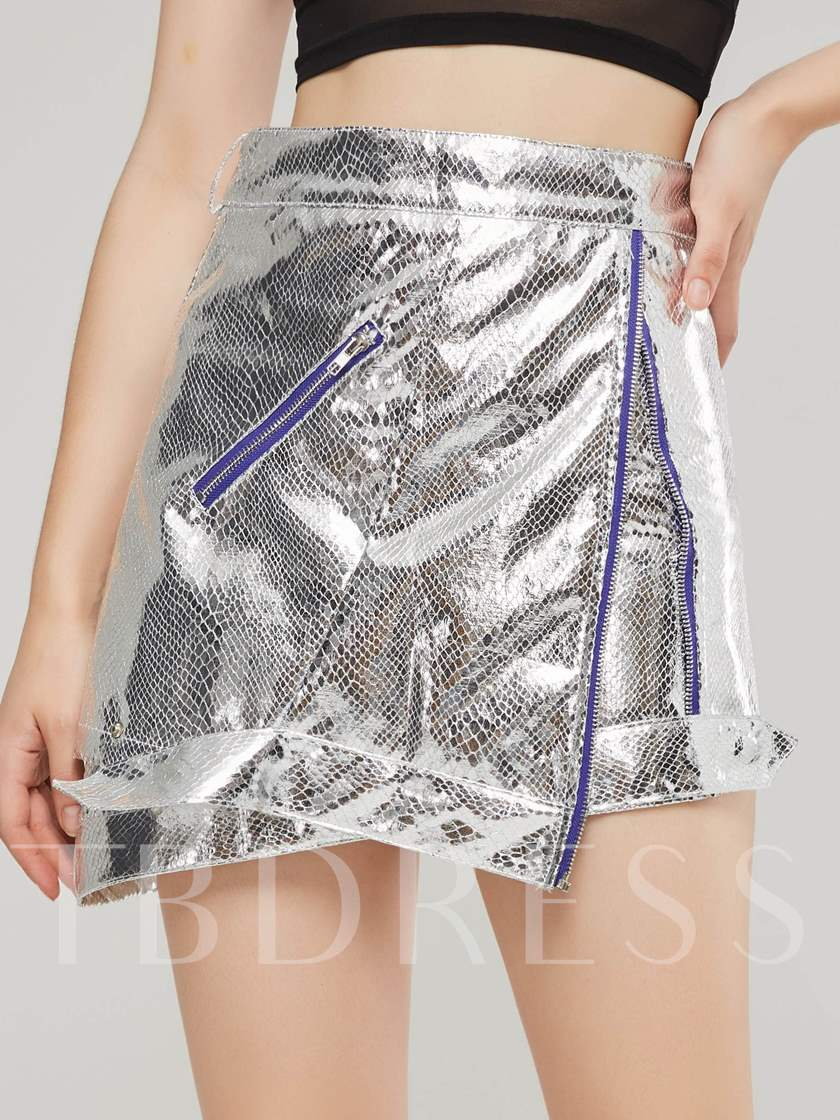 Silver Zipper Pocket Bodycon Women's Mini Skirt
