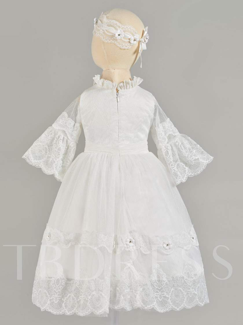 Ruffles Neckline Lace Sleeves Baby Girl's Christening Gown