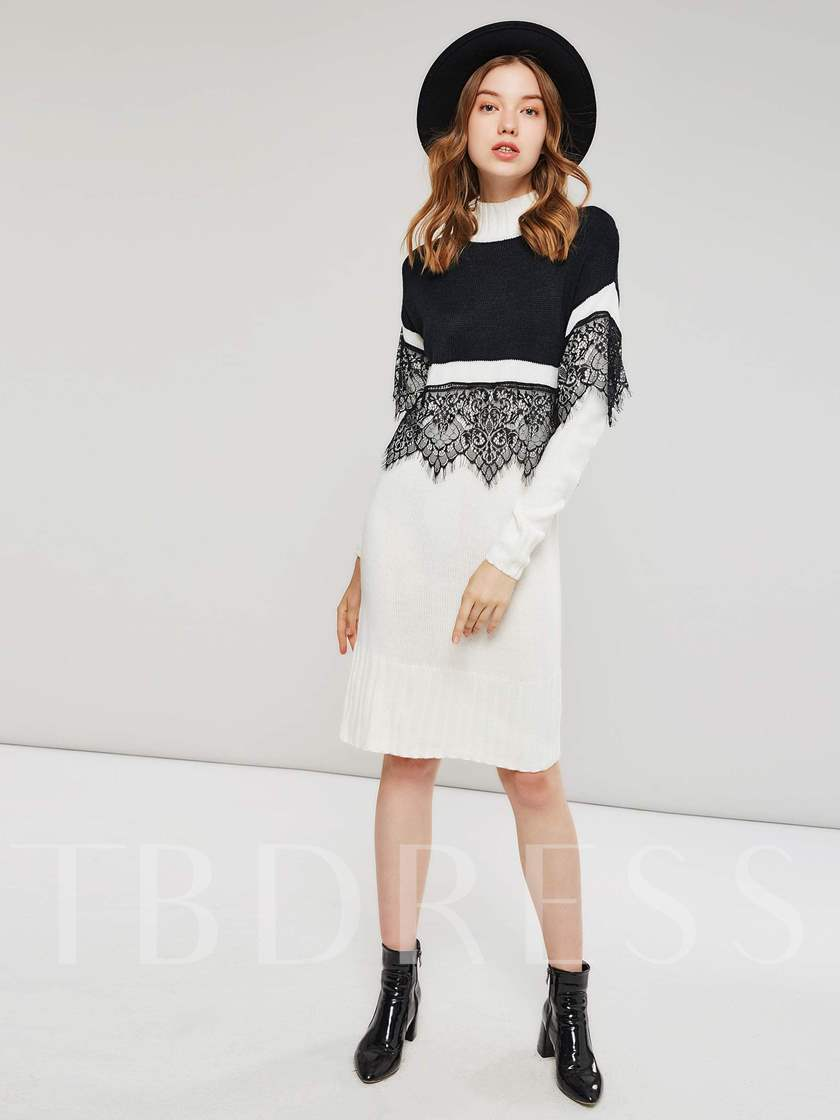 Lace Patchwork Turtle Neck Women's Sweater Dress
