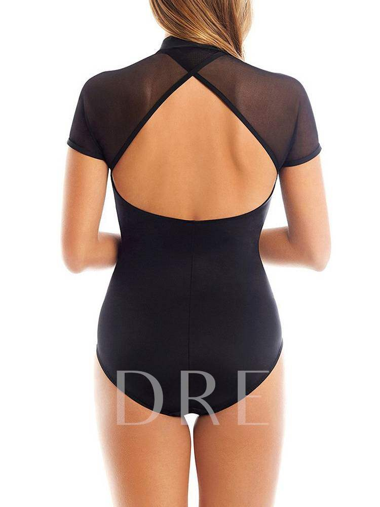 Sweet Plain Zipper Backless One-Piece Swimsuits