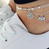Geometric Shape Double Layered Anklets