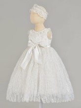 Round Neck Pearls Lace Baby Girl's Christening Gown