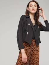 Double-Breasted Notched Lapel Solid Color Women's Blazer