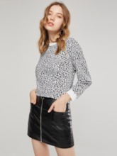 Plain Leopard Print Round Neck Women's T-Shirt