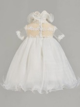 Ruffles Neck Short Sleeve Lace Baby Girl's Christening Gown