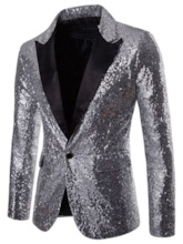 Notched LapelStraight Sequins Decorated One Button Men's Blazer