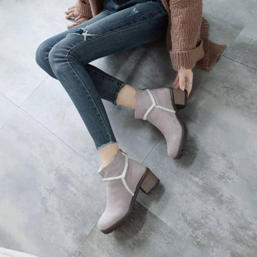 Suede Round Toe Back Zip Chunky Heel Unique Women's Ankle Boots
