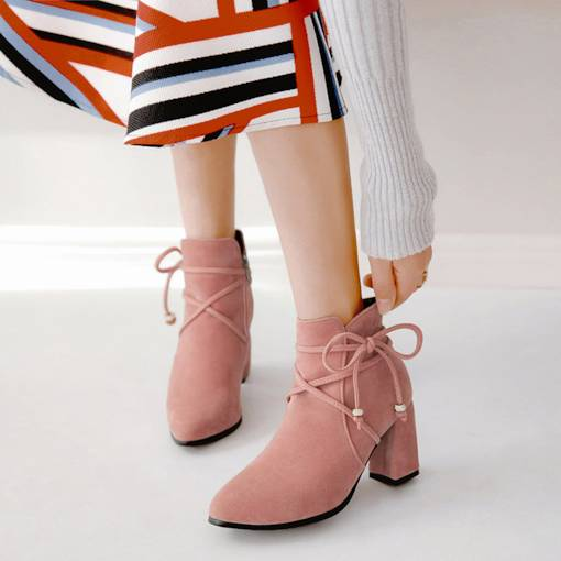 Suede Round Toe Side Zipper Bow Ladylike Chunky Heel Ankle Boots