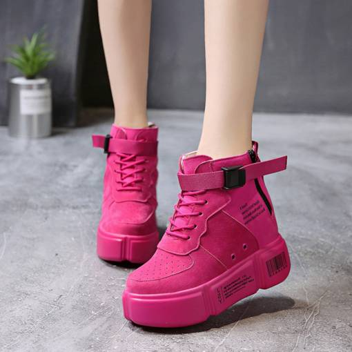 Suede Zipper Round Toe Cross Strap Platform Chic Women's Sneaker