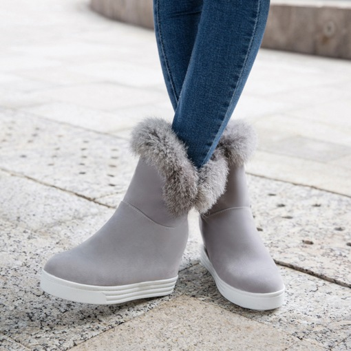 Suede Round Toe Slip-On Platform Casual Snow Boots