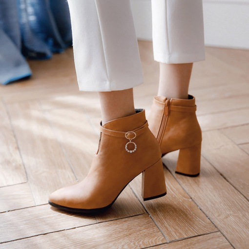 Side Zipper Chunky Heel Buckle Casual Elegant Women's Ankle Boots