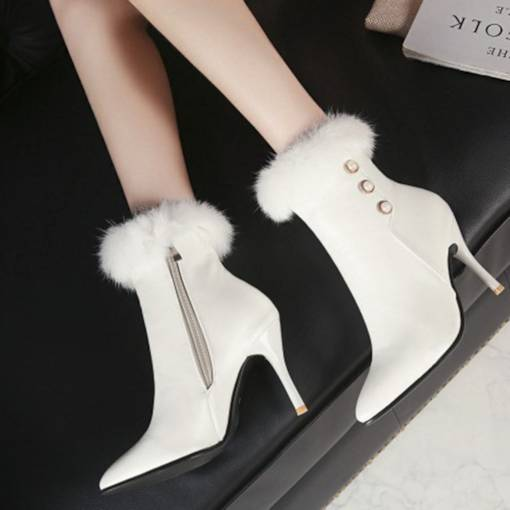 Pointed Toe Side Zipper Stiletto Heel Beads Purfle Women's Ankle Boots