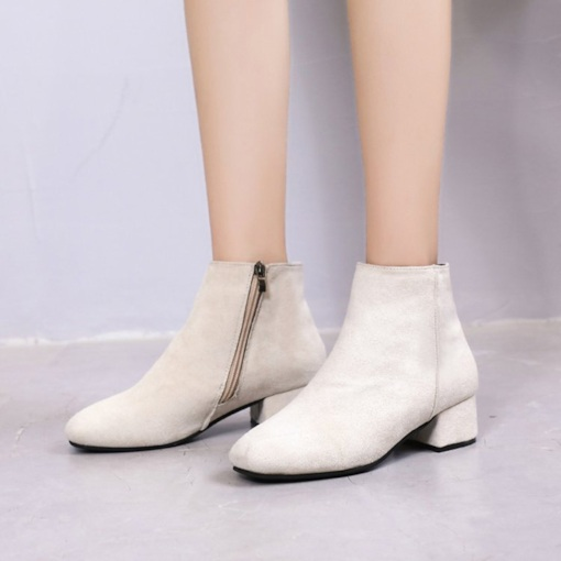 Suede Round Toe Side Zipper Block Heel Casual Women's Ankle Boots