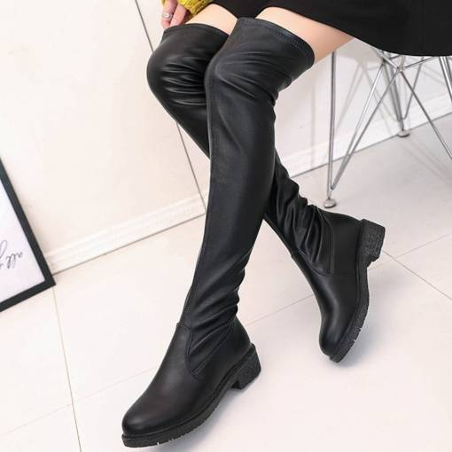 Round Toe Block Heel Slip-On Casual Women's Knee High Boots