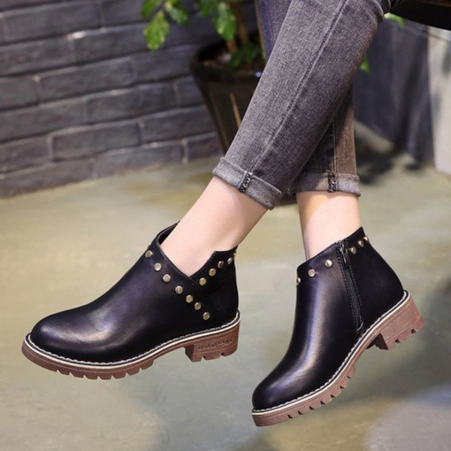 Round Toe Side Zipper Sewing Rivet Block Heel Women's Ankle Boots