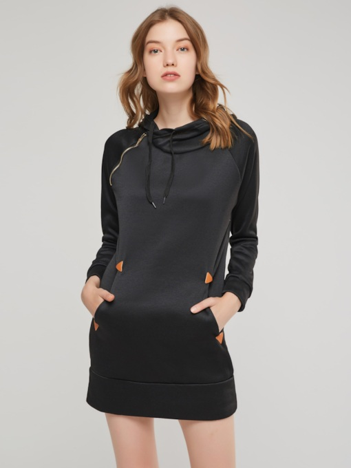Hooded Pocket Women's Long Sleeve Dress