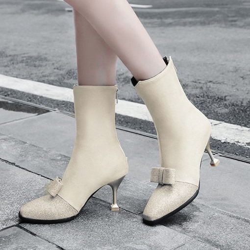 Square Toe Back Zip Bow Stiletto Heel Ladylike Women's Ankle Boots