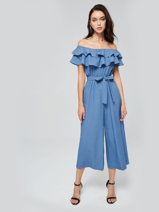 Denim Ruffled Slash Neck Lace-Up Women's Jumpsuit