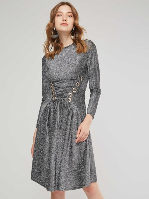 Silver Lace up Women's Long Sleeve Dress