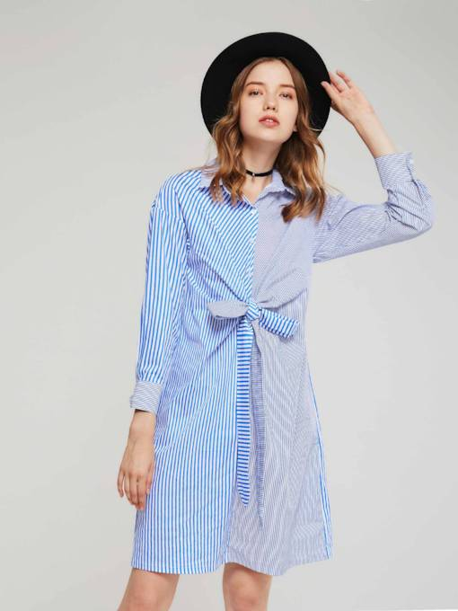 Lace up Striped Women's Long Sleeves Dress