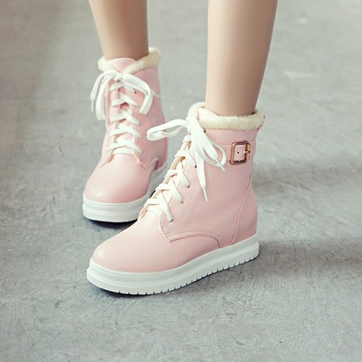 Round Toe Lace-Up Front Platform Buckle Elevated Women's Snow Boots