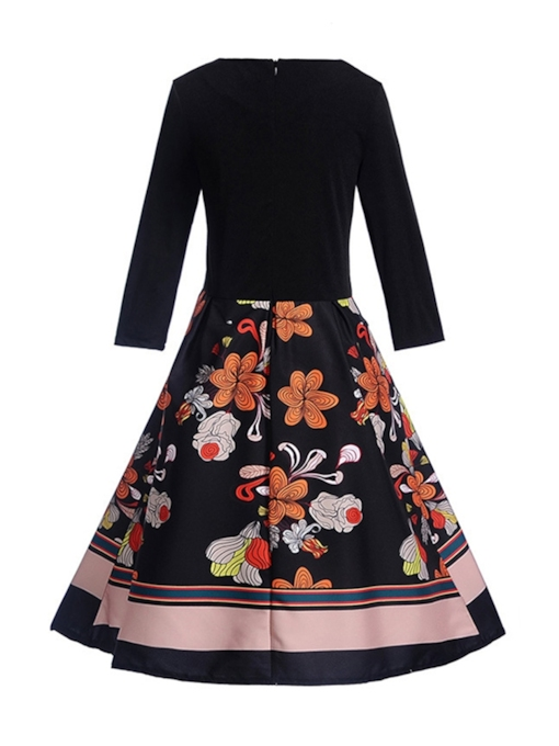 Patchwork Floral Women's Long Sleeve Dress