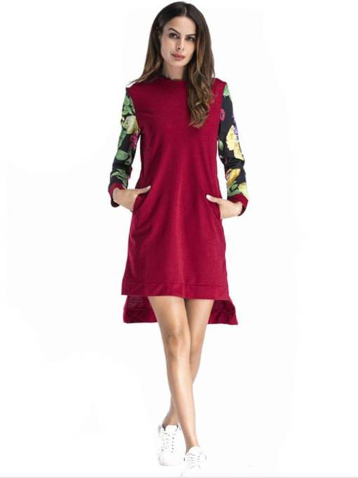 Patchwork Prints Women's Long Sleeve Dress