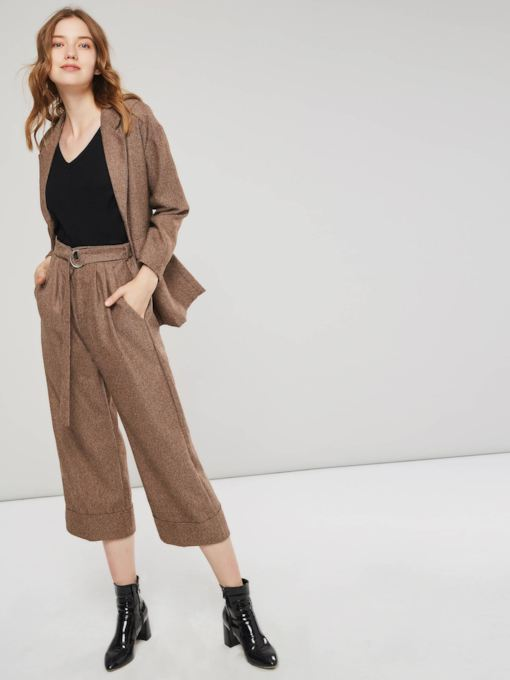 Button Lapel Long Sleeve Blazer and Pants Women's Suit